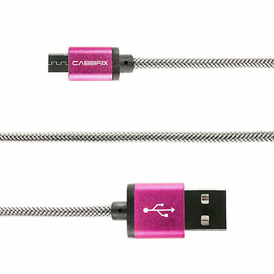 Micro USB 2m Pink Ladekabel Daten Handy Tablet Samsung S7 HTC Kindle PS4 XBOX LG