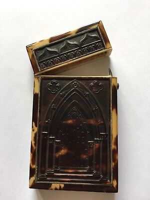 Rare Quality Antique Victorian Gothic Pressed Faux Tortoiseshell Card Case