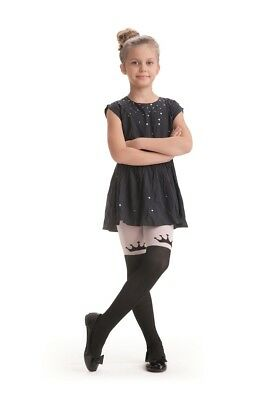 "Girls Tights By Knittex ""CROWN"" 40 Denier Microfibre ,Crown Pattern , Age 4-8"