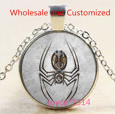 Steampunk Spider Cabochon Tibetan silver Glass Chain Pendant Necklace #3526
