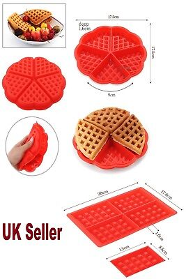 Red Silicone Waffle Pan Cake Baking Chocolate Baked Waffle Maker Mold Mould Tray