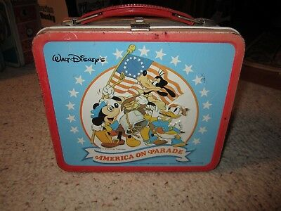 1976 Walt Disney America On Parade Metal Lunchbox & Plastic Thermos!!!