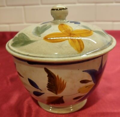 antique sugar bowl with lid pearlware leeds