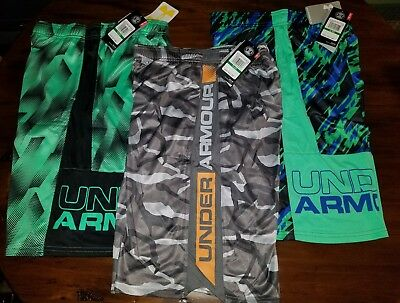 Under Armour Boys Stunt Printed Garcons/Chinos Shorts Youth Large NWT - 3 Lot !!