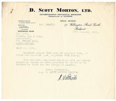1955 Billhead, D. Scott Morton Ltd, Insurance Brokers STOCKPORT