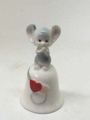 """Vintage Cute Mouse On Bell With Hearts Bone China Made In Japan 2.5"""""""