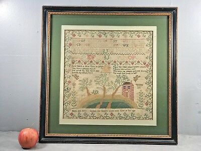 Antique Needlework Sampler by Mary Ann Simmons Framed Early 19th C