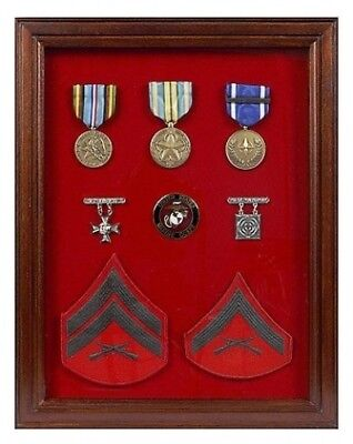 (Red) - Military Award Shadow Box - Medal Display Case. Freedom Display Cases