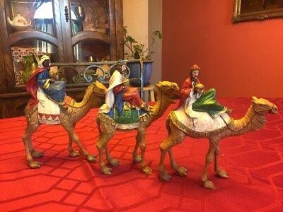 "Nativity Wisemen (3 Kings) on camels figurines - Set of 3 large 9""/10"""
