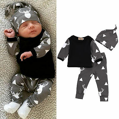 3Pcs Toddler Newborn Baby Boy Tops + Long Pants + Beanies Hat Outfit Clothes Set