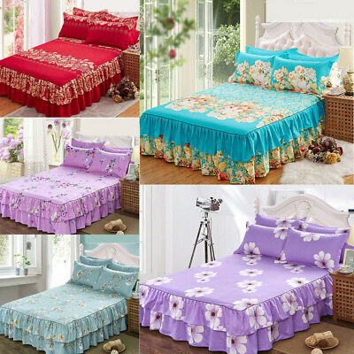 New Bedding Fitted Sheet (Bed Skirt)/Valance And 1 Pillowcases Full Queen King