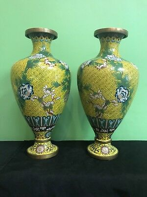 A Pair of Antique chinese cloisonne Vases large size 15''