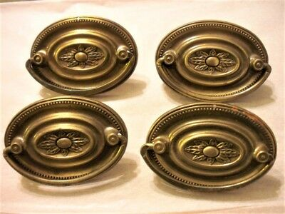 Lot of 4 Vintage Brass Plated Dresser Drawer Oval Shaped Pull Handle