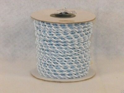 (Light Blue & White) - 2 mm Twine Cord 25 Yard Roll Multi Colour (Light Blue &