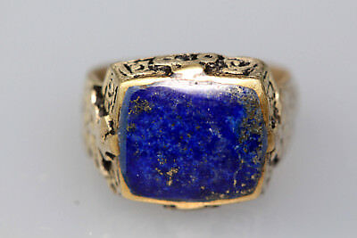 Near Eastern Egyption Lapis Lazuli Stone Anceint Persian Silver Mix Ring