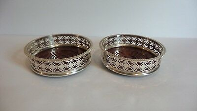 Pair Vintage Silver Plated Wine Bottle Coasters, Pierced Sides, Wooden Base