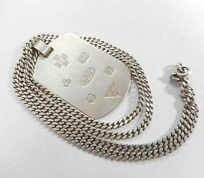 Vintage Solid Sterling Silver Ingot Hallmarked Sheffield With Silver Chain 20 ""