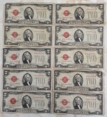 1928f $2 United States Note Red Seal Lot Of 10 Pcs With Free Shipping