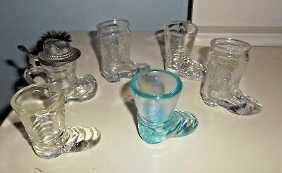 Lot of 6 Vintage Shot Glasses JIM BEAM,  Bavarian with Hat Lid, Boot, Irid. Blue