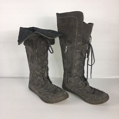2452be65207 UGG AUSTRALIA SOMAYA Moccasin Boots Shoes Gray Suede Size 6 Womens