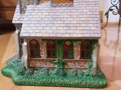 Partylite Country Old World Village THE CHURCH Stained Glass new w/box