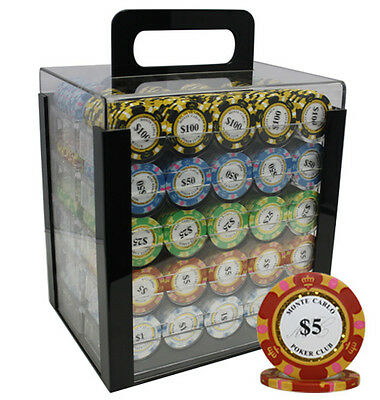 1000 14G Monte Carlo Poker Club Poker Chips Set Acrylic Case 3Tone New