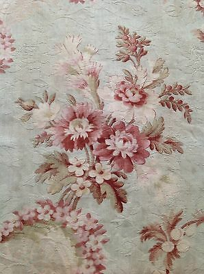 Antique French Pink & Red Shabby Roses Garland Cotton Fabric