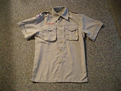 Bsa Boy Scouts Of America Khaki Polyester Vented Uniform Shirt~Youth Large
