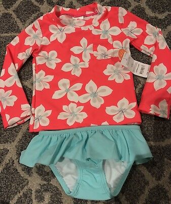 NWT Carters Girls 2PC Set Rash Guard Swimsuits Size 2T Pink Hibiscus Blue Kids