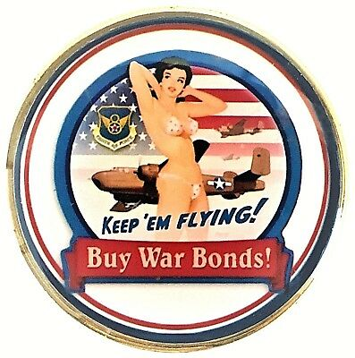 US Air Force Pin Up Bomber Nose Art Head Tail Good Luck Challenge Coin FAST SHIP