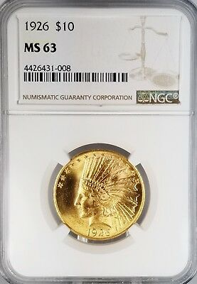 1926 $10 Indian Eagle GOLD Coin NGC MS63 SUPERB LUSTER!