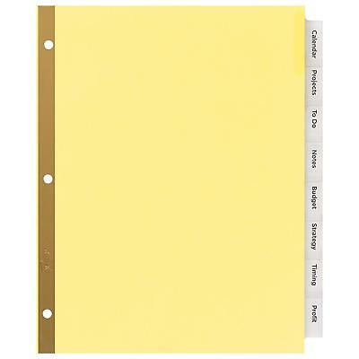 Big Tab Insertable Dividers Buff Paper 8 Clear Tabs Three Hole Punched 1 Set New