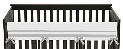 Modern White & Gray Baby Bed Rail Guard / Teething Cover - New