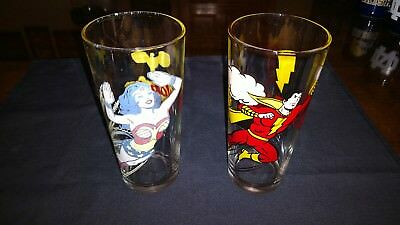 Wonder Woman & Superman Glass Tumblers 1978 DC Comics 6""