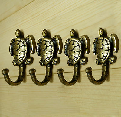 Lot of 4 pcs Solid Brass Antique Vintage TURTLE Hat Coat Wall Mount HOOKS
