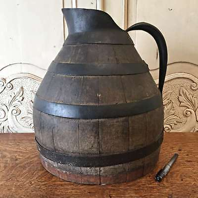 Antique French Huge Oak Wine Pitcher Jug Rare - QN584