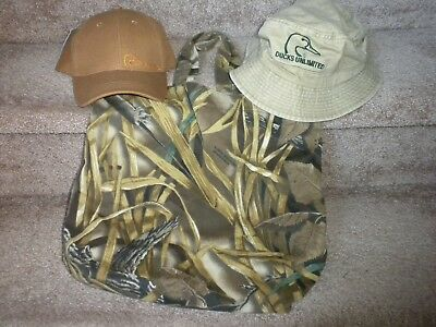 Ducks Unlimited Hats, Tote bag, keychain, DU Patch, 6 Pins & Band - 12 Items