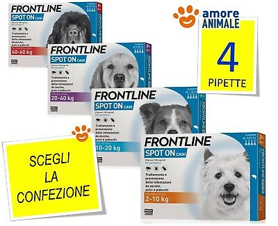 Frontline SPOT ON - 4 pipette per cani  2-10 | 10-20 | 20-40 | 40-60 kg - NEW