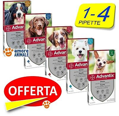 Advantix Bayer 1 e 4 pipette per Cani da 0-4 / 4-10 / 10-25 / 25-40 / 40-60 kg