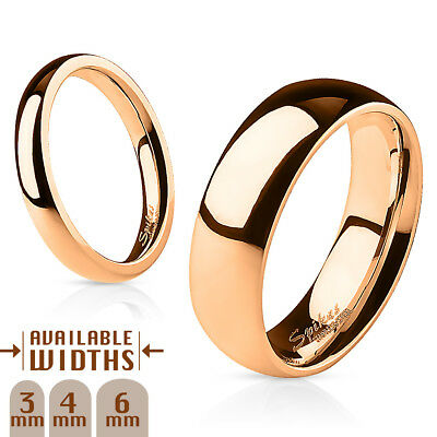 Stainless Steel Rose Gold IP Dome Band Ring Sizes 4.5 through 13 available
