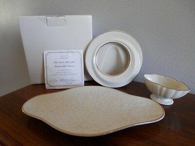 Lenox China Lot of 3: Memorable Frame + Small Footed Oval Bowl + Oval Embossed w