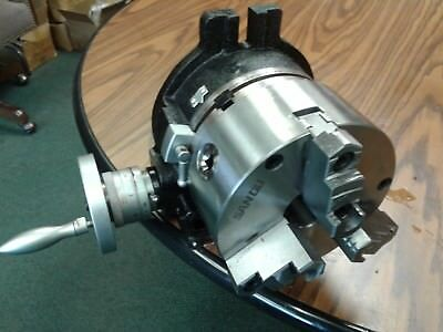 """6"""" HORIZONTAL & VERTICAL ROTARY TABLE w. 6"""" 3-jaw chuck front mount,#TSL6-3-slot"""