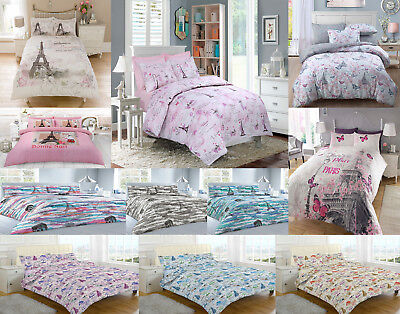 New Baby Pink Duvet Set With Pillowcase Quilt Bedding Cover Eiffel Tower Paris