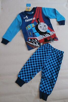 Bnwt Boys Thomas The Tank Engine Blue Cotton Ski Pyjamas  Sleepwear- Size 1 To 4