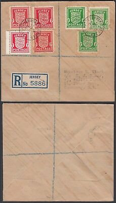 Jersey 1944 - Registered cover and used stamps to Gernsey..... (DD443) MV-443