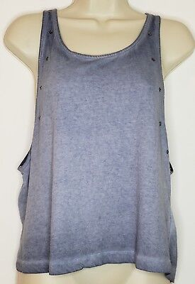 0fe4b1402b8 Divided H&M Womens Size 2 Semi Crop Top Tank Top Shirt Light Blue Studded  (bD