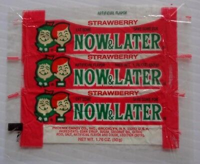 vintage Strawberry Now & Later candy wrapper cello Now and Later 1960 s - 1970 s