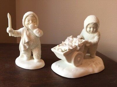 """Lot of (2) 56 Snowbabies Figurines """"There's Another One!"""" & """"I'm So Sleepy"""" EUC"""