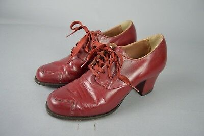 Vintage 1940's Red Leather Lace Up Heels