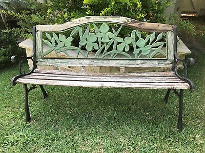RUSTIC GARDEN SEAT ~ VINTAGE BENCH ~ WROUGHT IRON and WOOD ~ AUSTRALIAN